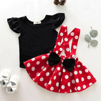 2PCS Infant Kids Baby Girl T-Shirt Top+Dot Print Bow Skirt Outfits Set Clothes F