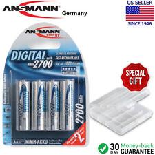 Ansmann Digital AA 2700mAh Rechargeable NiMH Batteries (4-Pack) + Battery Case