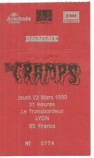 RARE / TICKET CONCERT - THE CRAMPS : EN LIVE A LYON ( FRANCE ) 1990