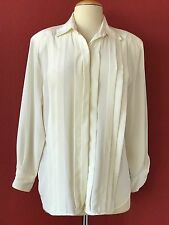 Vintage CHRISTIAN DIOR Chemise Ivory Pleated Button Front Top Size 12