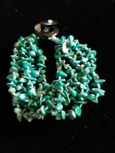 "sajen turquoise 925 multi strand bracelet black onyx toggle 7 1/2"""