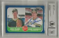 🌟1986 Fleer Jose Canseco #649 Autographed BGS 10 RC Oakland Athletics Rookie🌟