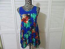 Cupio Top, Women S, NWT, Vivid blue floral print, sleeveless,