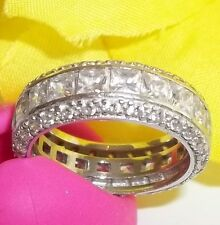 New SETA Sterling Silver Eternity Band Ring Sz 7 Princess Cut 4tcw CZ
