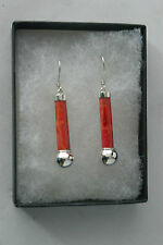 Beautiful Silver Earrings With Red Coral 3.9 Grams 3.5 Cm. Long + Hooks In Box