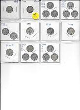 1919 10C Mercury Dime plus 19 Different dated ( Set 11 )