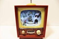 "Roman Amusements Christmas Tv with Train Music Box 8.75"" Mib Mint In Box"