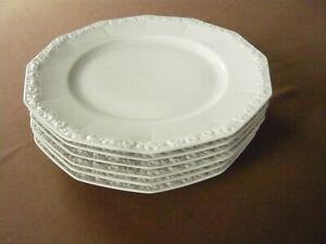 Rosenthal, Maria weiß, Maria, 6 Speiseteller, Durchmesser ca. 24,4 cm