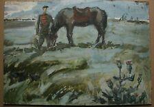 Russian Ukrainian Soviet Painting impressionism rider horse Red Army man