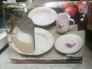 "New Oneida 16 Pc ""Garden Rooster"" Casual Dinner Setting"