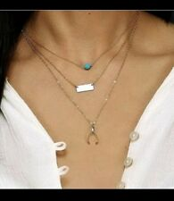 Multi Layer Wishbone Geometric Rectangular Bead  Necklace Gold toned