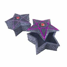 Purple Pentagram Shaped Celtic Pattern Grey Resin Box With Red Gem Center