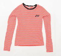 Jack Wills Womens Size 8 Striped Cotton Multi-Coloured T-Shirt (Regular)