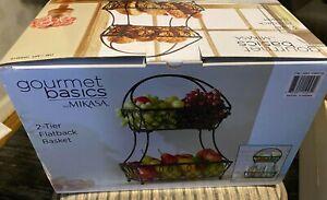Gourmet Basics Mikasa 2 Tier Loop Pattern Flatback Wire Basket - Black - NEW