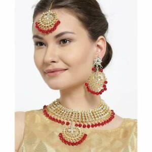 Pakistani Red Gold Plated Tone Choker Kundan Bridal Necklace Earrings Tikka Set