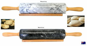 Fine Kitchen Marble Rolling Pin & Wooden Stand Dough Pastry HW603