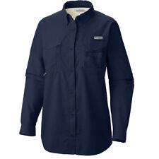 "Womens Columbia Pfg ""bahama"" Omni-shade Vented Fishing Long Sleeve Shirt Collegiate Navy XS"