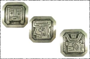 3 Vintage Peruvian Silver Buttons, Incan Mythological Characters, Small Square
