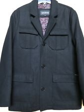 Gorgeous NWT Guess Men's Trench Black Wool Blend Coat Button-Down Front, Size L