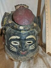New listing Helmet Mask with Carved Snake and Colorants — Authentic African Wood Art