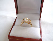6.5 mm Pearl Solitaire  14k Gold 'Raised' Ring