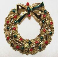 Vintage 60's Gold Tone Enamel Christmas Wreath Pin Brooch N627