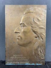 """Bronze Schild """"Widmung der Schiller Stiftung"""" Dr. M. Donndorf sign. Brütt 1909"""