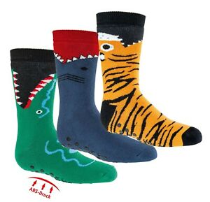 3 Paar Kinder Socken ABS Antirutsch-Sohle  Thermo Warm Gr 19-34 NEU