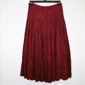 Coldwater Creek Burgundy Microfiber Skirt Size Medium Womens Crinkle effect Euc