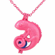 R240 Hot Pink plated Pearl Beads Cage Locket Necklace in 39mm Lizard Animal