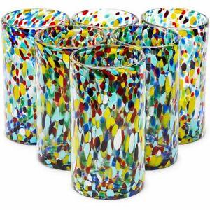 Hand Blown Mexican Glassware, Confetti Rock Glasses (14 oz, 6 Pack)