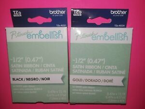 (2) P-TOUCH EMBELLISH TZe TAPE by BROTHER~A GOLD & A BLACK ON WHITE SATIN RIBBON
