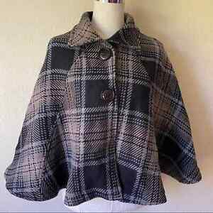 """Nordstrom 100% Virgin Wool Cape ONE SIZE Plaid Made Italy 23"""" Women's *No Belt"""