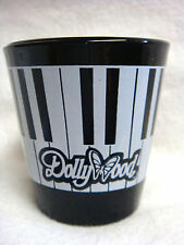 Black Glass DOLLYWOOD  SHOT GLASS - Piano Keys & Butterfly