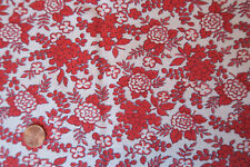 One VINTAGE FEEDSACK * RED on WHITE FLOWERS  37x45  PRISTINE