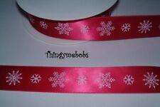 1 M x 16 mm Blanco en Rojo Copo de Nieve Navidad Cinta del Grosgrain-Artesanía//elaboración de tarjetas