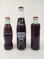 Lot Of 3 Vintage Coca Cola Sealed Bottles Dallas Cowboys,Celebrate 20, Property