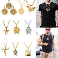 Pendant Chain Necklace Jewelry Alloy Choker Hip Hop Fashion Retro Man Gift CN