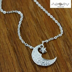 """Fashion Women 925 Sterling Silver CZ Moon and Star Pendant Necklace Chain 16-18"""""""