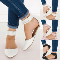❤️ Womens Summer Sandals Ankle Strap Pointed Toe Flat Buckle Slip On Flats Shoes