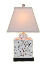 "Chinese Porcelain Bird Motif Tea Caddy Table Lamp 20"""