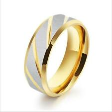 Fashion Men Gold Plating Cross Grain Ring Stainless Steel Anniversary Band Gift