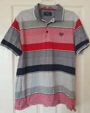Atlantic Men's Red Striped Short Sleeve Polo Shirt Top Size XL