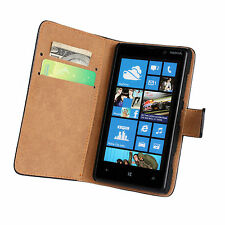 Black Genuine Leather Business Wallet Card Case Cover Stand for Nokia Lumia 820