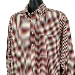Burberry London Mens sz XL Shirt Red Plaid Button Up Long Sleeve Collared Pocket