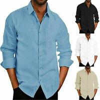 Men's Linen Long Sleeve Shirts Casual Loose Dress Soft Tops Blouse Tee AU