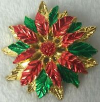 Christmas Poinsettia Pin Brooch Holiday Vintage Red Green Gold Plate 2.25""