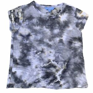 Simply Vera Wang Gray Tie Dye T-shirt With Ruching Design Size Large L