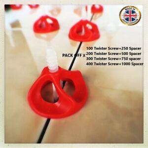 UK TILE SPACERS  Twister Nut Levelling System 1 or 2mm Spacer