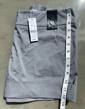 "NEW YORK & COMPANY Gray 4"" Cuffed Cotton Blend Shorts Size 4 NWT"